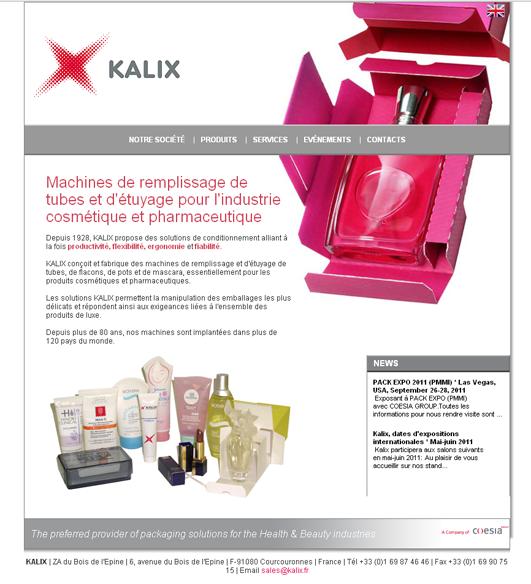 Capture d'écran du site de Kalix