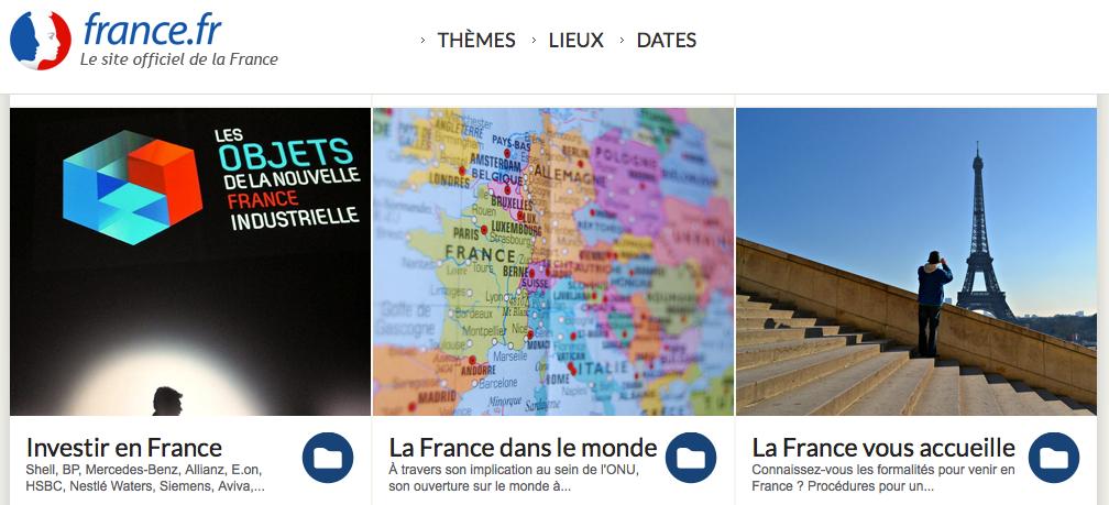 Capture d'écran du site France.fr en 2014.