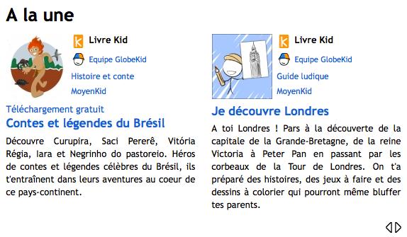 Capture d'écran de la page d'accueil du site GlobeKid en 2014.