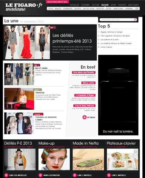 Capture d'écran du site Madame Figaro