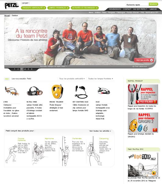 Capture d'écran du site de Petzl en 2012