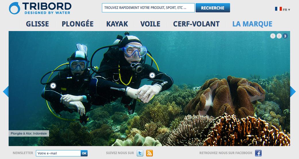 Capture d'écran de la page d'accueil du site www.tribord.com.