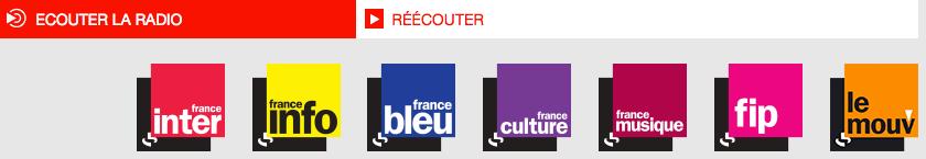 Capture d'écran de la page d'accueil du site de Radio France